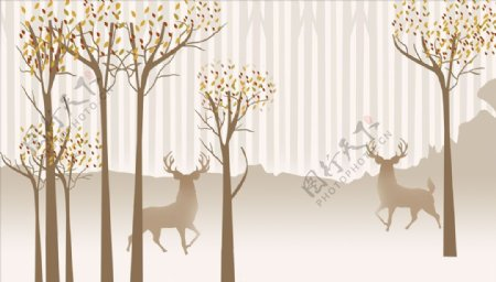 水墨画抽象树鹿欧式背景墙图片