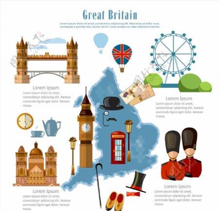 英国旅行元素图片