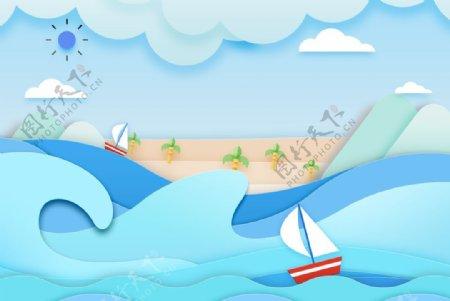 清爽小清剪纸风新静谧沙滩旅行图片