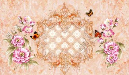 欧式花纹背景墙图片