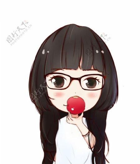 拿着红苹果的少女卡通图片