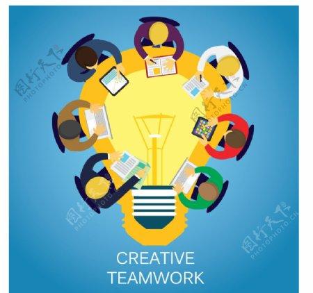 扁平化团队协作图片