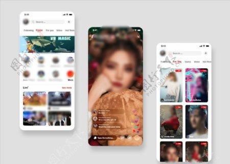 xd视频直播红色白色UI设计首图片