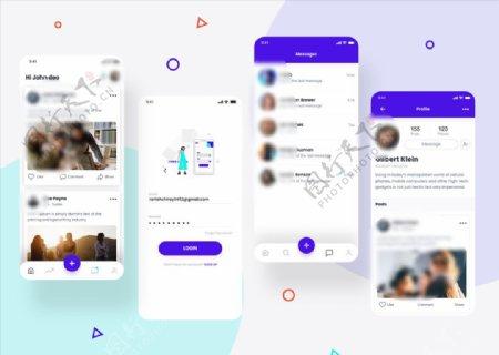 xd社交紫色白色UI设计首页登图片