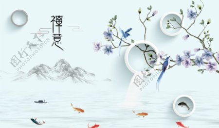 新中式禅意山水背景墙图片
