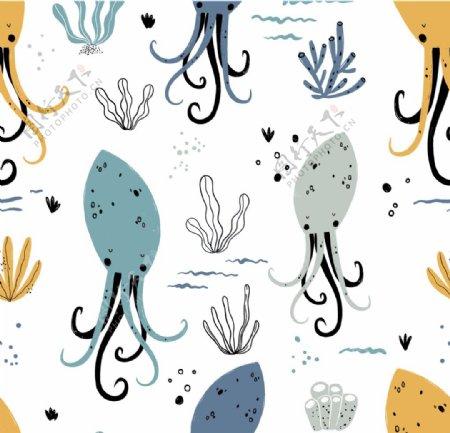 章鱼海洋海底世界各种鱼图片