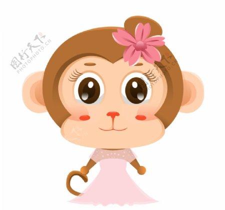 头上带花的女生猴子插画图片