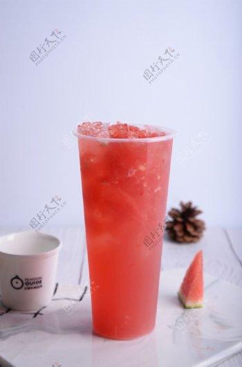 西瓜茶饮图片