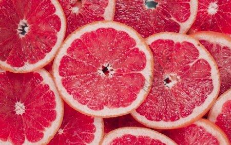 红色红柚切片图片