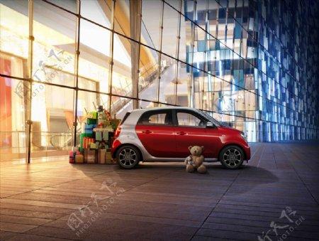 奔驰smart展车背景图片