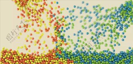 C4D模型动画充满背景的小球图片