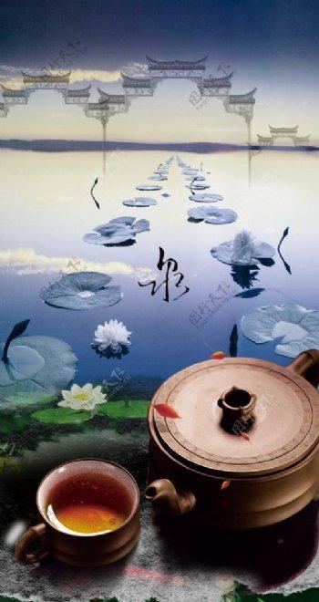 品茶中国风H5背景图片