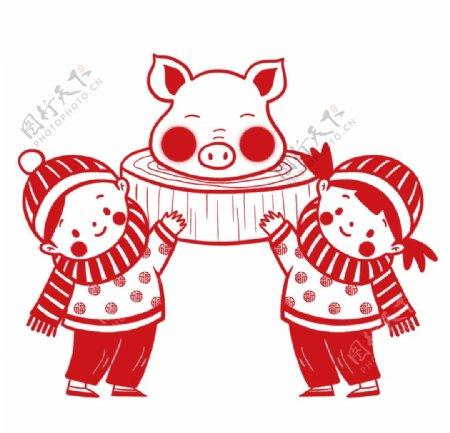 春节习俗割年肉剪纸图片