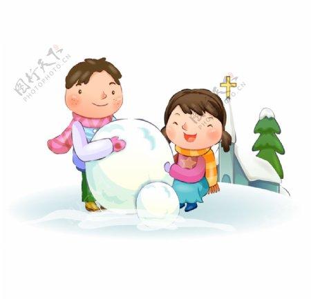 冬季堆雪人的孩子图片