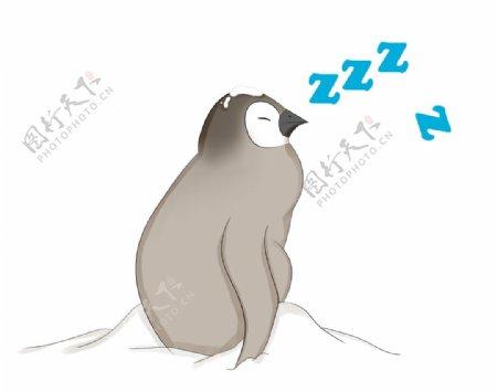 企鹅睡觉插画图片