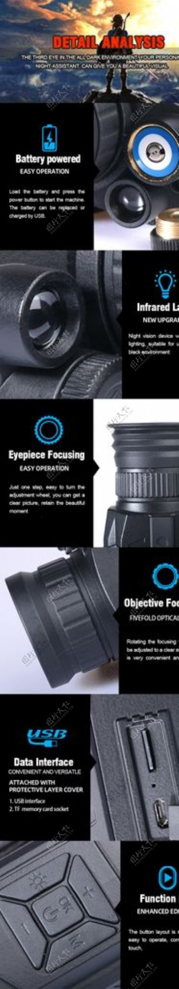 黑色背景夜视仪细节电商详情页图片