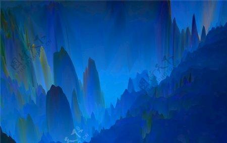 蓝色抽象水墨山峰图片