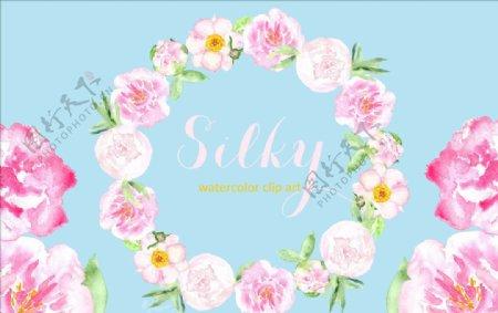 花型玫瑰柔滑的牡丹水彩图花环图片