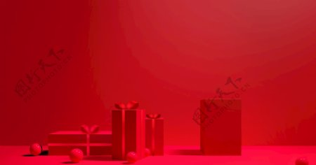 红色礼盒背景图片