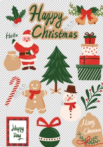 圣诞节贴纸复古卡通图片
