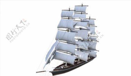 C4D模型一帆风顺帆船图片