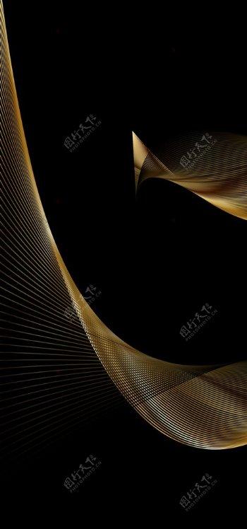 金色抽象线条装饰画图片