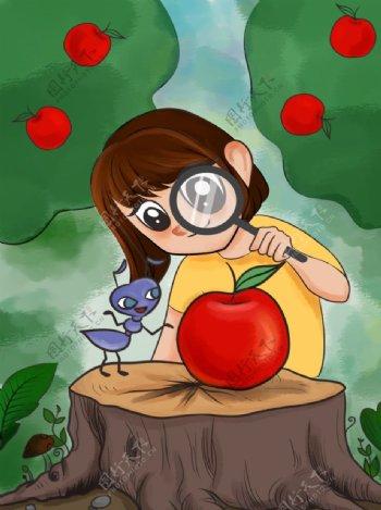 女孩放大镜蚂蚁插画图片