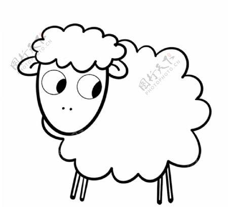 手绘简笔画绵羊图片