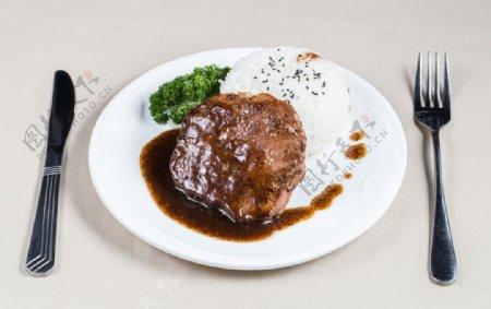 牛排饭图片
