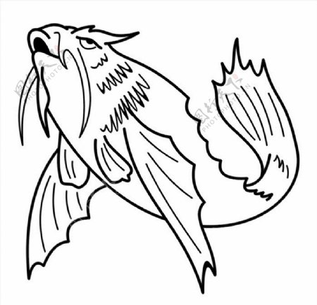 鱼矢量图雕刻图图片