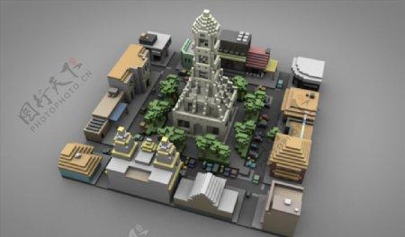 C4D模型中央广场城市街道图片