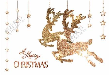 圣诞金色麋鹿图片