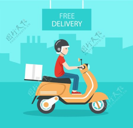 外卖骑手送餐快递员图片