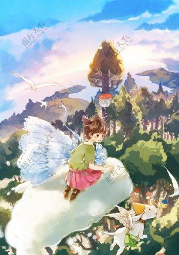 女孩幻想卡通插画场景背景素材图片