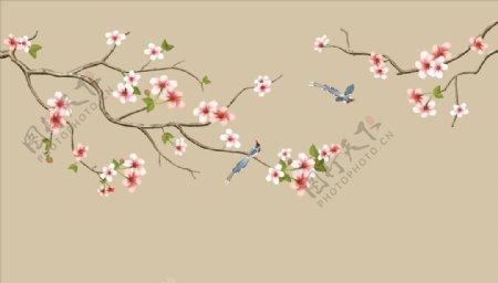 花鸟画喜鹊背景墙图片