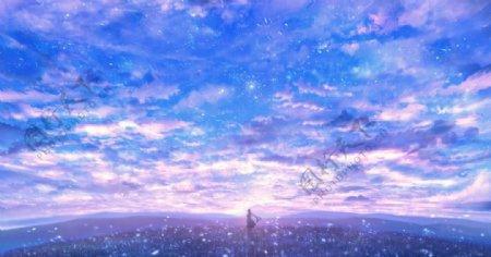 星空梦幻蓝紫色图片