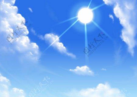 动漫蓝天天空图片