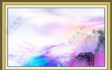 山水画相框图片