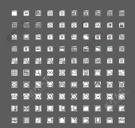 100个黑白用户界面UI图标图片