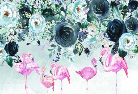 火鸟鲜花背景彩绘电视墙壁纸装饰图片