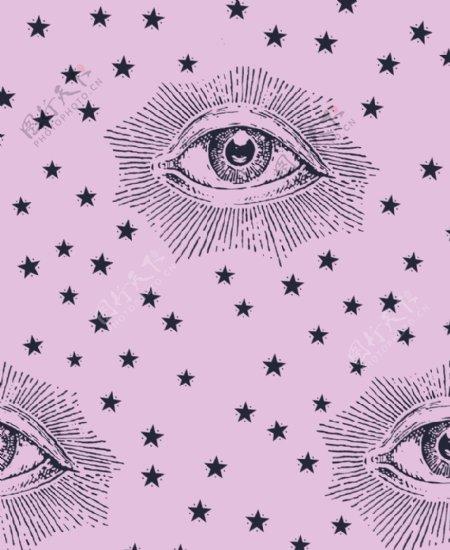 大牌花眼睛五角星数码印花图片