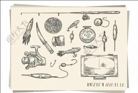 15款入渔具素描画图片