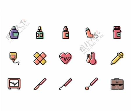 彩色面性医疗用品icon图标图片