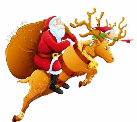 圣诞老人麋鹿图片