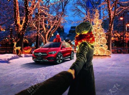 奔驰圣诞节图片