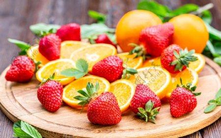 草莓橙子图片