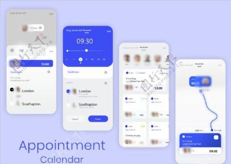xd社交蓝色白色UI设计预订页图片