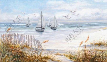 大海帆船背景墙图片