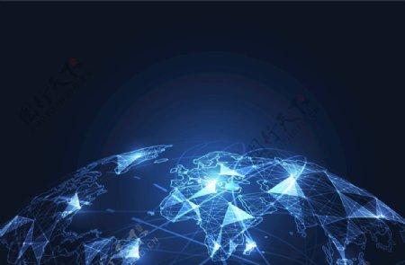 三角面点线抽象地球地平线EPS图片