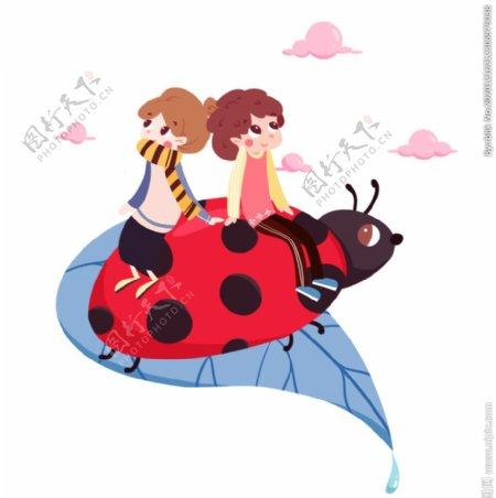 瓢虫儿童插画图片